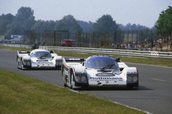 Le Mans, France. 15th - 16th June 1985.Derek Bell/Hans-Joachim Stuck (Porsche 962C), 3rd position, leads Jacky Ickx/Jochen Mass (Porsche 962C), 10th position, action. World Copyright: LAT Photographic.Ref:  85LM01.