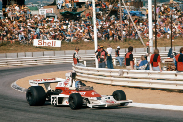 Kyalami, South Africa. 30 March 1974.Dave Charlton, McLaren-Ford M23, 19th position, action. World Copyright: LAT Photographic.Ref:  74SA19.