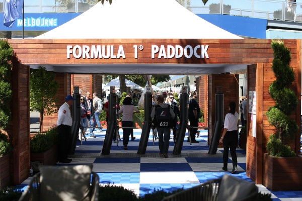 Formula one Paddock entrance at Formula One World Championship, Rd1, Australian Grand Prix, Race, Albert Park, Melbourne, Australia, Sunday 15 March 2015.