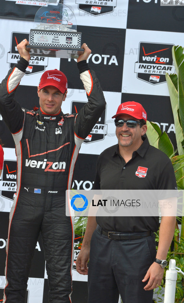 11-13 April, 2014, Long Beach, California USA #12 Will Power Verizon Team Penske, second place on podium with Verizon excutive ©2014, Dan R. Boyd Lat Photo USA