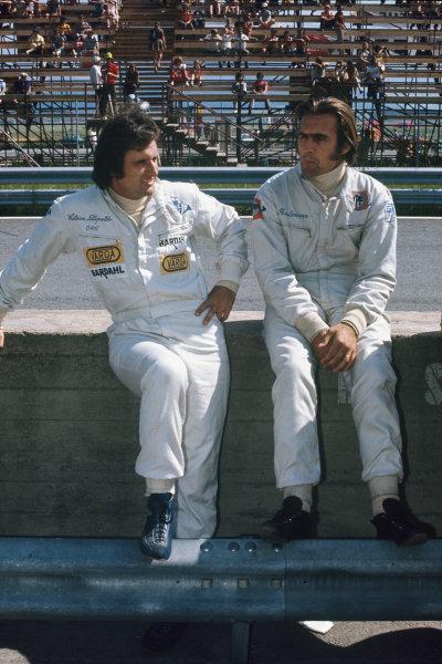 1972 Austrian Grand Prix.  Osterreichring, Zeltweg, Austria. 11-13th August 1972.  Brabham teammates Wilson Fittipaldi and Carlos Reutemann.  Ref: 72AUT46. World Copyright: LAT Photographic