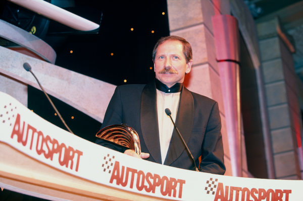 1996 Autosport Awards. Grosvenor House Hotel, London. 1st December 1996. Dale Earnhardt on the main stage, portrait.  World Copyright: LAT Photographic. Ref:  Colour Transparency.