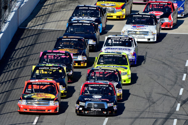 October 25-26, 2013, Martinsville, Virginia USA Darrell Wallace Jr and Ty Dillon restart © 2013, Brian Czobat LAT Photo USA