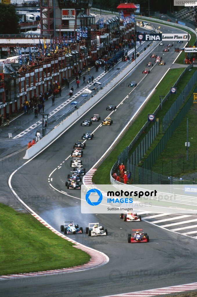 Pole sitter Jenson Button (GBR) Promatecme Dallara F399-Renault, who finished the race in fourth position, leads the field into Eau Rouge at the start of the race. British Formula Three Championship, Rd 14, Spa-Francorchamps, Belgium, 26 September 1999.