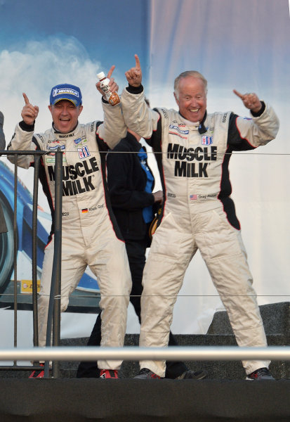 9-11 May, 2013, Monterey, California USA.#6 Muscle Milk Pickett Racing's Klaus Graf and Greg Picket doing alittle victory dance. ©2013, Dan R. Boyd LAT Photo USA