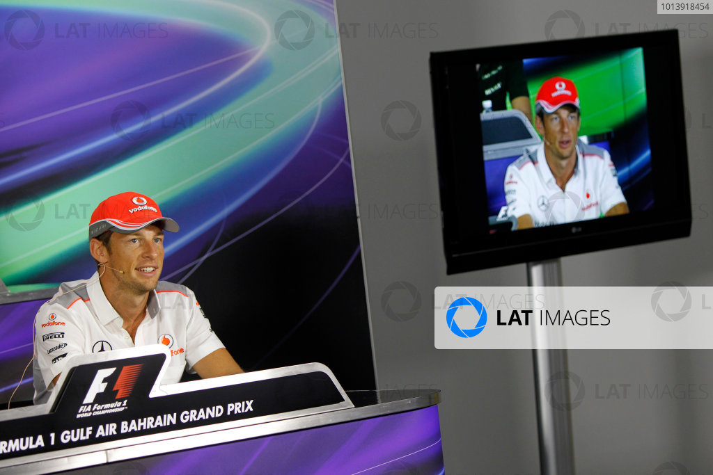 Bahrain International Circuit, Sakhir, Bahrain Thursday 18th April 2013 Jenson Button, McLaren, in the Thursday Press Conference. World Copyright: Andrew Ferraro/LAT Photographic ref: Digital Image _Q0C8610