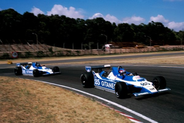 Fourth placed Patrick Depailler (FRA) Ligier JS11 leads his team mate Jacques Laffite (FRA) Ligier JS11, who took pole position and won the race. Argentinean Grand Prix, Rd 1, Buenos Aires, Argentina, 21 January 1979. BEST IMAGE