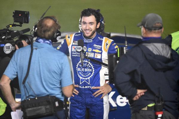 Race winner Chase Elliott, Hendrick Motorsports Chevrolet Kelley Blue Book speaks to the media Copyright: Jared C. Tilton/Getty Images