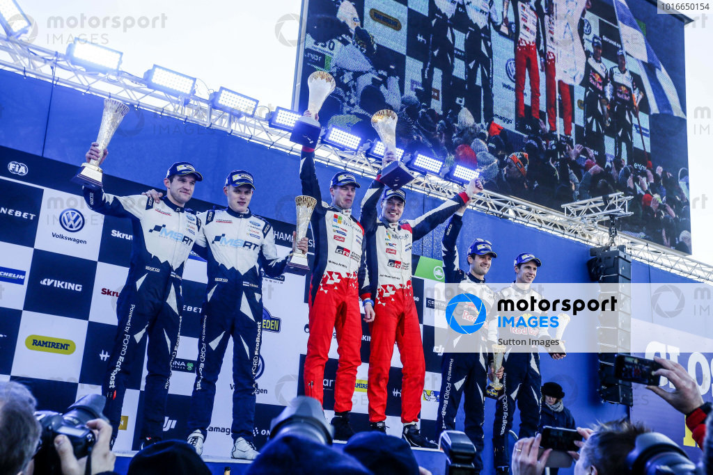 (L to R): Second placed Ott Tanak (EST) / Martin Jarveoja (EST), M-Sport World Rally Team WRC, rally winners Jari-Matti Latvala (FIN) / Miikka Anttila (FIN), Toyota Gazoo Racing WRC and third placed Sebastien Ogier (FRA) / Julien Ingrassia (FRA), M-Sport World Rally Team WRC celebrate on the podium with the trophies at World Rally Championship, Rd2, Rally Sweden, Day Three, Karlstad, Sweden, 12 February 2017.