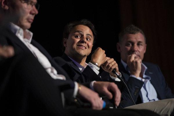 Felipe Massa and Tom Kristensen on stage