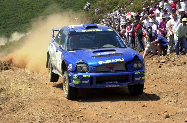 2001 World Rally Championship.Acropolis Rally June 14-17, 2001.Richard Burns on stage 16 before retiring with a broken propshaft.Photo: Ralph Hardwick/LAT