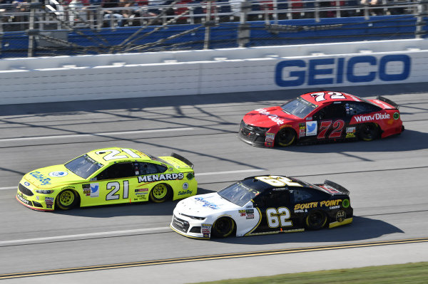 #21: Paul Menard, Wood Brothers Racing, Ford Fusion Menards / Dutch Boy, #62: Brendan Gaughan, Beard Motorsports, Chevrolet Camaro Beard Oil Distributing\ South Point Hotel & Casino, #72: Corey LaJoie, TriStar Motorsports, Chevrolet Camaro Winn Dixie