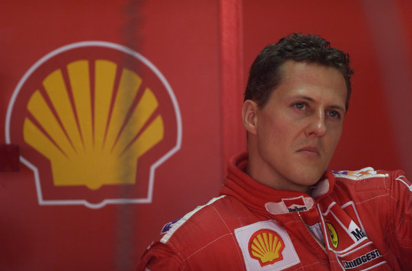 2001 Brazilian Grand Prix - Friday PracticeSao Paolo, Brazil. 30th March 2001Michael Schumacher, Ferrari - portrait.World Copyright - LAT Photographicref: 18 MB Digital