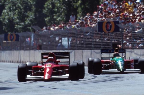 The Ferrari of Nigel Mansell leads the Benetton of race winner Nelson Piquet Australian GP - Adelaide, Australia, 4 November 1990