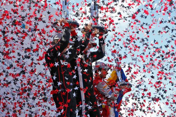 29-31 July, 2016, Lexington, Ohio USA Simon Pagenaud, Will Power, Carlos Munoz celebrate on the podium ?2016, Phillip Abbott LAT Photo USA