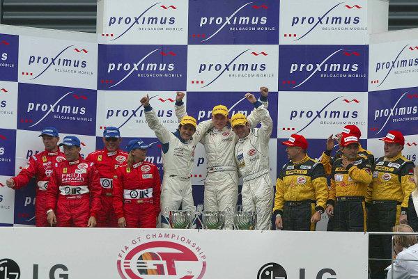 2003 FIA GT ChampionshipSpa 24 Hours, Spa Francorchamps, Belgium, 26th - 27th July 2003.Race podium - Ortelli/Lieb/Dumas (Porsche 996 GT3-RS) 1st, Cappellari/Gollin/Bryner/Calderari (Ferrari 550 Maranello) 2nd and Rosa/Caffi/Chiesa/Drusi (Porsche 996 GT3-RS) 3rd.World Copyright: Photo4/LAT Photographicref: Digital Images Only