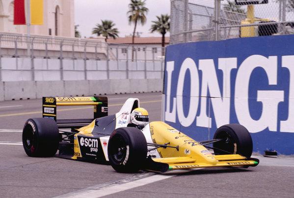 1990 United States Grand Prix.Phoenix, Arizona, USA.9-11 March 1990.Pierluigi Martini (Minardi M189 Ford) 7th position.Ref-90 USA 55.World Copyright - LAT Photographic