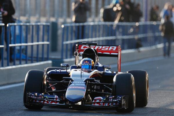 2015 F1 Pre Season Test 1 - Day 1 Circuito de Jerez, Jerez, Spain. Sunday 1 February 2015. Carlos Sainz Jr, Toro Rosso STR10 Renault, in the pitlane. World Copyright: Alastair Staley/LAT Photographic. ref: Digital Image _79P8543