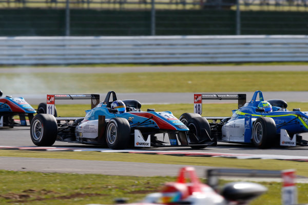 FIA F3 European Championship - Round 1, Race 3. Silverstone, Northamptonshire, UK 10th - 12th April 2015 11 Fabian Schiller (DEU, Team West-Tec F3, Dallara F312 – Mercedes-Benz), 18 Nicolas Pohler (DEU, Double R Racing, Dallara F312 – Mercedes-Benz). Copyright Free FOR EDITORIAL USE ONLY. Mandatory Credit: FIA F3. ref: Digital Image FIAF3-1428842369