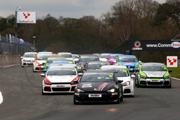 2015 Volkswagen Racing Cup, Oulton Park, Cheshire. 4th - 6th April 2015. Race 1 Start David Sutton (GBR) SlideSports Scirocco R leads. World Copyright: Ebrey / LAT Photographic.