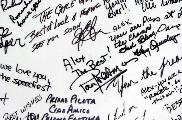Paul Newman was amongst a host of CART personalities who signed the Firestone get well card for Alex Zanardi.