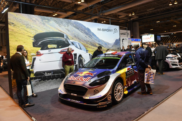 Autosport International Exhibition. National Exhibition Centre, Birmingham, UK. Thursday 12 January 2017. The M-Sport stand, featuring a Ford Fiesta WRC car. World Copyright: Sam Bagnall/LAT Photographic. Ref: DSC_2372
