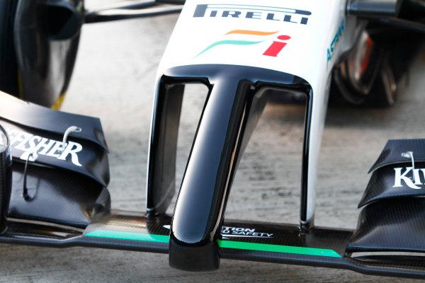 2014 F1 Pre Season Test 1 - Day 1 Circuito de Jerez, Jerez, Spain. Tuesday 28 January 2014. Force India VJM07 Mercedes nose detail. World Copyright: Alastair Staley/LAT Photographic. ref: Digital Image _A8C7688.JPG
