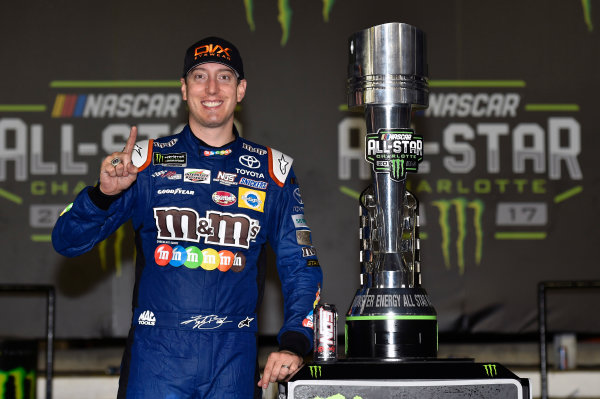Monster Energy NASCAR Cup Series Monster Energy NASCAR All-Star Race Charlotte Motor Speedway, Concord, NC USA Saturday 20 May 2017 Kyle Busch, Joe Gibbs Racing, M&M's Caramel Toyota Camry celebrates his win in Victory Lane World Copyright: Nigel Kinrade LAT Images ref: Digital Image 17CLT1nk07362