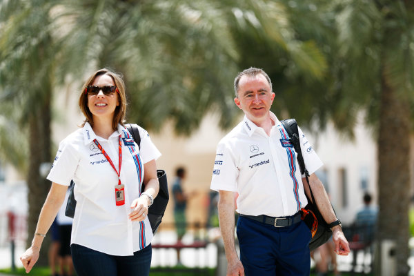 Bahrain International Circuit, Sakhir, Bahrain.  Friday 14 April 2017. Claire Williams and Paddy Lowe of Williams F1 Team World Copyright: Sam Bloxham/LAT Images ref: Digital Image _J6I8599