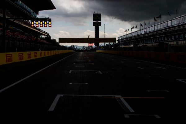 2017 GP3 Series Round 1.  Circuit de Catalunya, Barcelona, Spain. Thursday 11 May 2017. A view of the circuit with stormy skies above. Photo: Zak Mauger/GP3 Series Media Service. ref: Digital Image _54I6872