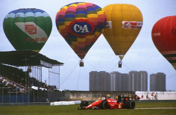 Jacarepagua, Rio de Janeiro, Brazil.1-3 April 1988.Gerhard Berger (Ferrari F187/88C), 2nd position action. World Copyright: LAT Photographic. Ref: 88BRA49