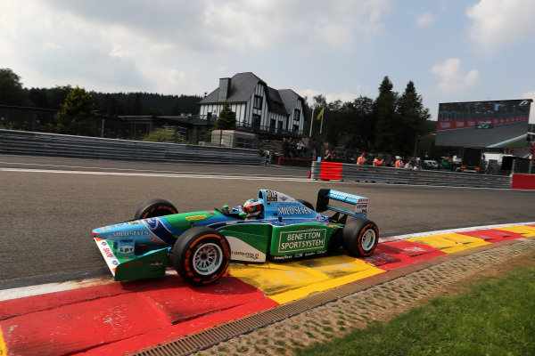 Mick Schumacher (GER) Benetton B194 at Formula One World Championship, Rd12, Belgian Grand Prix, Race, Spa Francorchamps, Belgium, Sunday 27 August 2017.