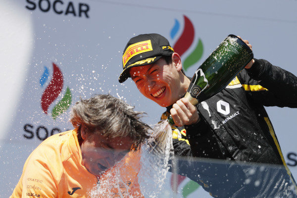 Jack Aitken (GBR, CAMPOS RACING) sprays the champagne on the podium