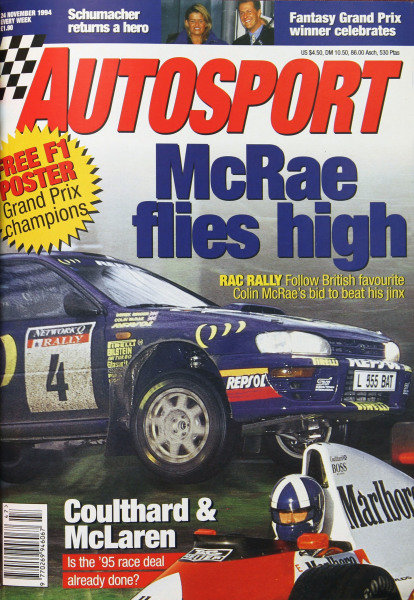 Cover of Autosport magazine, 24th November 1994