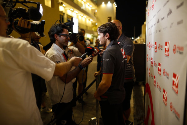 Pietro Fittipaldi, Haas development driver, talks to the media.