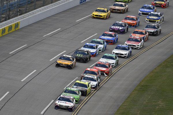 #11: Denny Hamlin, Joe Gibbs Racing, Toyota Camry FedEx Ground and #18: Kyle Busch, Joe Gibbs Racing, Toyota Camry Interstate Batteries