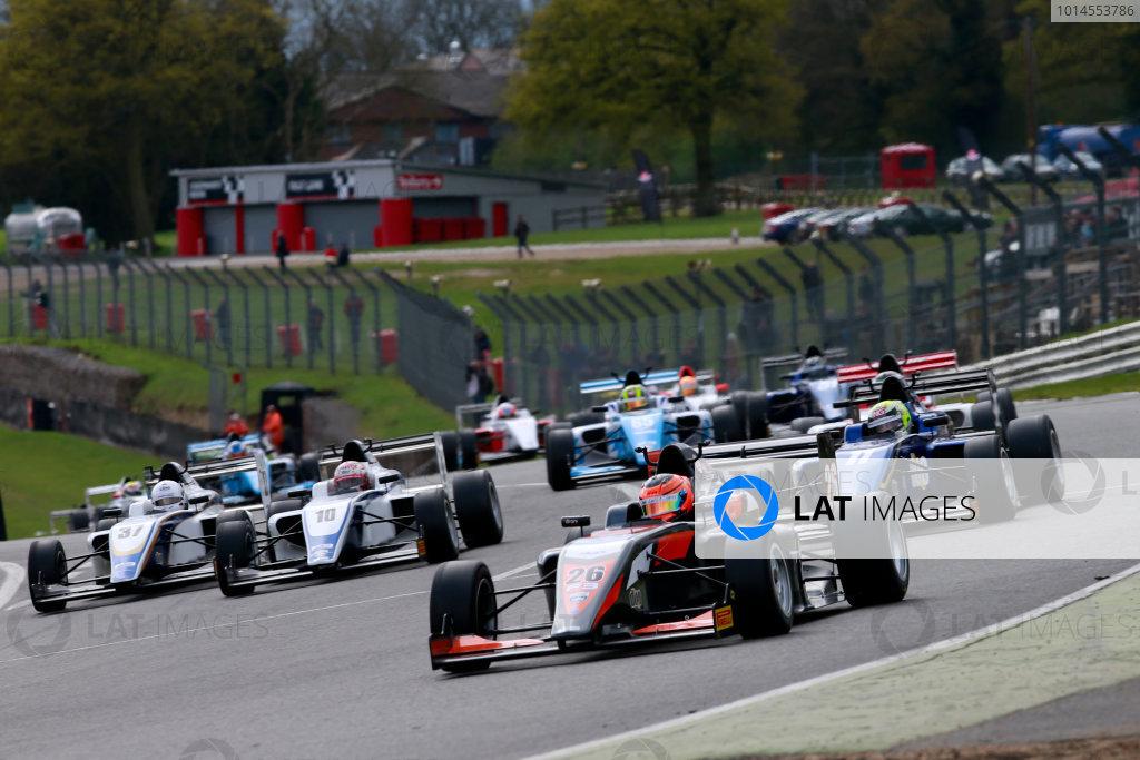 2016 BRDC British Formula 3 Championship, Brands Hatch, Kent. 16th - 17th April 2016. Start of Race 1 Matheus Leist (BRA) Double R Racing BRDC F3 leads. World Copyright: Ebrey / LAT Photographic.