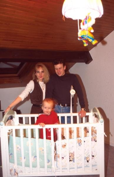 Olivier Panis at home with his wife and child in France.