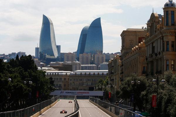 Baku City Circuit, Baku, Azerbaijan. Friday 23 June 2017. Fernando Alonso, McLaren MCL32 Honda, leads Stoffel Vandoorne, McLaren MCL32 Honda. World Copyright: Andrew Hone/LAT Images ref: Digital Image _ONY8559