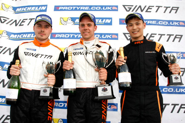 2017 Ginetta Racing Drivers Club, Silverstone, 11th-12th June 2017, Race 1 Podium (l-r) Tom Sibley Ginetta G40, Tom Golding Ginetta G40, Bond To Ginetta G40. World copyright. JEP/LAT Images