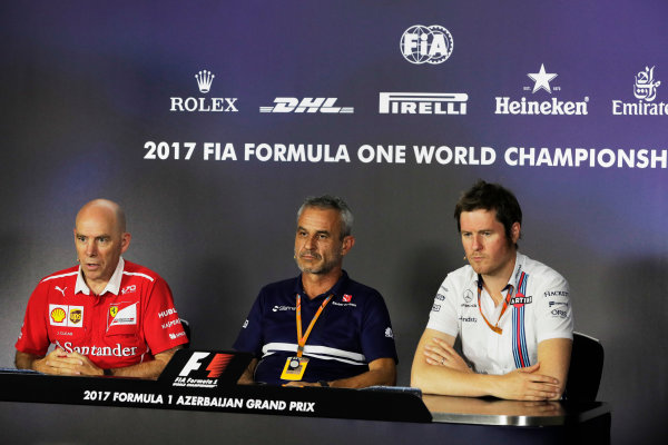 Baku City Circuit, Baku, Azerbaijan. Friday 23 June 2017. Jock CLEAR (Ferrari), Rob SMEDLEY (Williams), Beat ZEHNDER (Sauber) World Copyright: Zak Mauger/LAT Images ref: Digital Image _56I7011