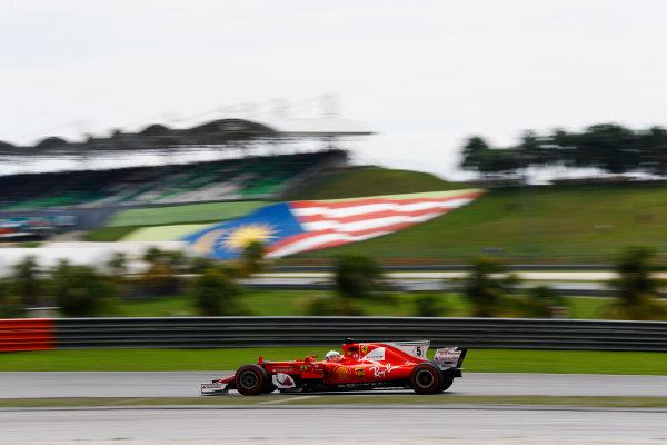 Sepang International Circuit, Sepang, Malaysia. Saturday 30 September 2017. Sebastian Vettel, Ferrari SF70H.  World Copyright: Steven Tee/LAT Images  ref: Digital Image _R3I3936
