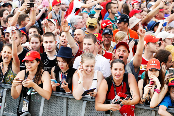Hungaroring, Budapest, Hungary. Thursday 23 July 2015. Fans wait for autographs from the drivers. World Copyright: Charles Coates/LAT Photographic ref: Digital Image _J5R0721