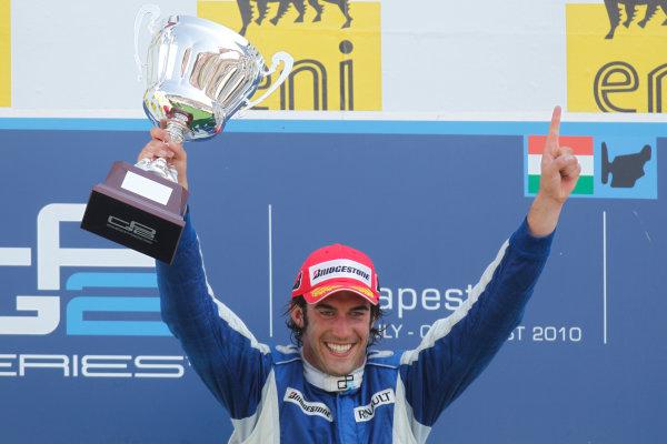 Hungaroring, Budapest, Hungary. 1st August.Sunday Race.Giacomo Ricci (ITA, DPR) celebrates his victory on the podium. Portrait.Photo: Glenn Dunbar/GP2 Media Service.Ref: __G7C5713 jpg