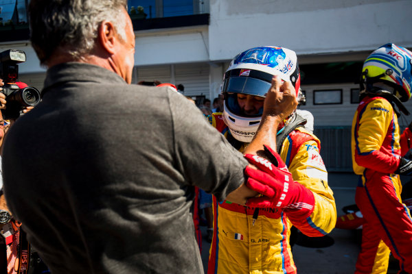 2017 GP3 Series Round 4.  Hungaroring, Budapest, Hungary. Sunday 30 July 2017. Giuliano Alesi (FRA, Trident), with father, Jean Alesi. Photo: Zak Mauger/GP3 Series Media Service. ref: Digital Image _56I4118