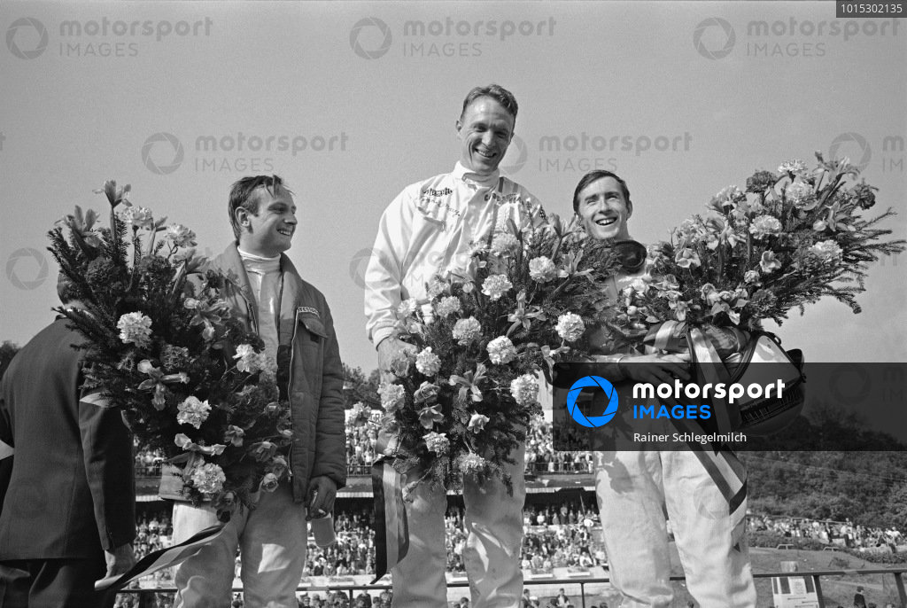 Dan Gurney, Chris Amon and Jackie Stewart on the podium.