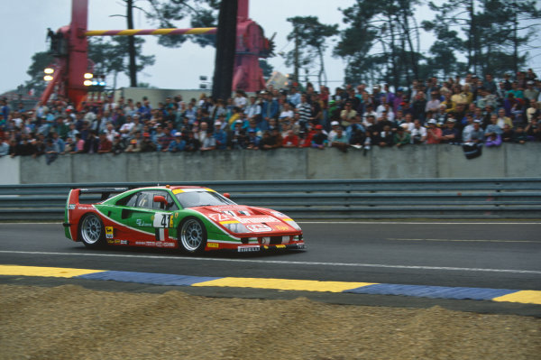 1995 Le Mans 24 Hours. Le Mans, France. 17th - 18th June 1995. Gary Ayles/Massimo Monti/Fabio Mancini (Ferrari F40 GTE), 18th position, action.  World Copyright: LAT Photographic. Ref:  95LM32