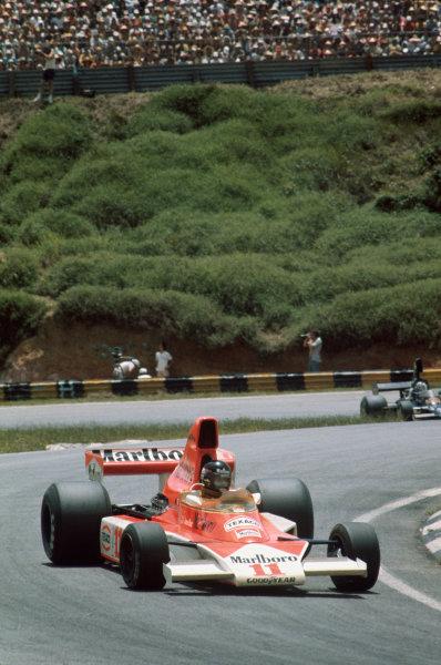 Interlagos, Sao Paulo, Brazil. 23-25 January 1976. James Hunt, McLaren M23 Ford. Ref: 76BRA19. World Copyright - LAT Photographic