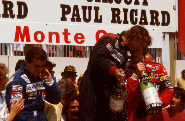 Paul Ricard, France.23-25 July 1982.Rene Arnoux (Equipe Renault) 1st position, Alain Prost (Equipe Renault) 2nd position and Didier Pironi (Ferrari) 3rd position on the podium.Ref-82 FRA 16.World Copyright - LAT Photographic