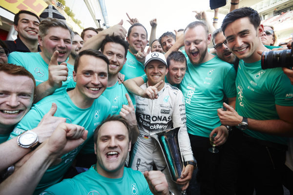 Circuit de Catalunya, Barcelona, Spain. Sunday 10 May 2015. Nico Rosberg, Mercedes AMG, 1st Position, celebrates with his team. World Copyright: Steve Etherington/LAT Photographic. ref: Digital Image SNE10383